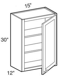 """Mocha Maple Glaze Wall Cabinet   15""""W x 12""""D x 30""""H  W1530"""