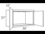 """Mocha Maple Glaze Wall Cabinet   30""""W x 12""""D x 21""""H  W3021"""