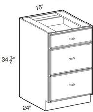 """Creme Maple Glaze Base Drawer Cabinet   15""""W x 24""""D x 34 1/2""""H  DB15-3"""