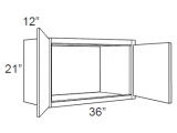 """White Shaker Maple Wall Cabinet 36"""" W x 21"""" H x 12"""" D"""