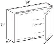 """White Shaker Maple Wall Cabinet 36"""" W x 24"""" H x 12"""" D"""