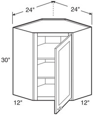 "White Shaker Maple Wall Diagonal Corner Cabinet 24"" W x 30"" H x 12"" D"
