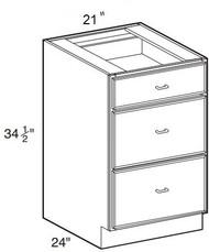 """Dove White Base Drawer Cabinet   21""""W x 24""""D x 34 1/2""""H  DB21-3"""