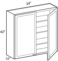 "Dove White  Wall Cabinet   24""W x 12""D x 42""H  W2442"