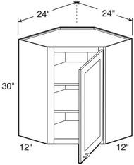 "Ebony Shaker  Wall Diagonal Corner Cabinet   24""W x 12""D x 30""H  WDC2430"