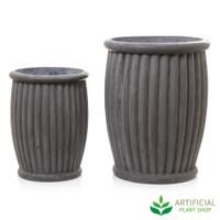 Grey Planter Barrel Set of 2