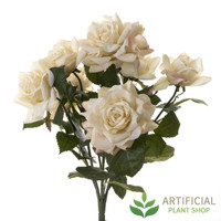 Cream/ White Rose Bush Heads 45cm (pack of 6)