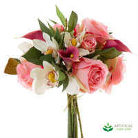 Pink Cymbid Rose Calla Bouquet 25cm (pack of 6)