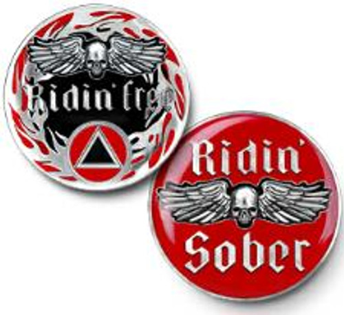 AA Ridin' Free - Ridin' Sober - Alcoholics Anonymous Specialty Tri-Plate Medallion