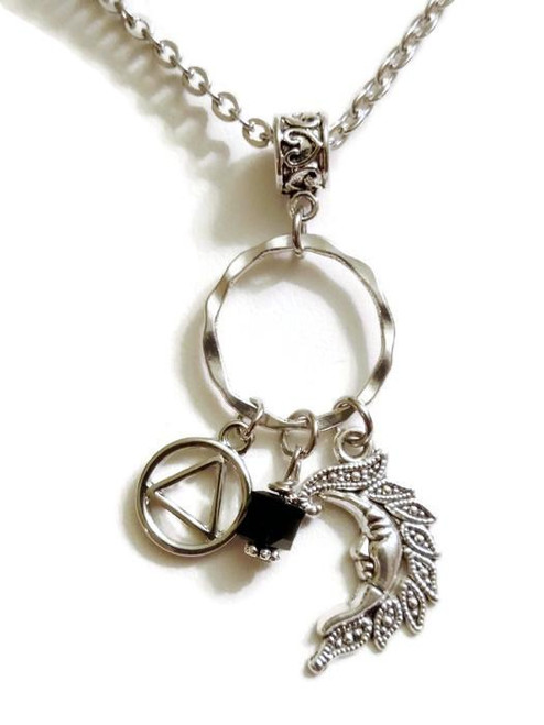 Moon Charm Holder Necklace Alcoholics Anonymous