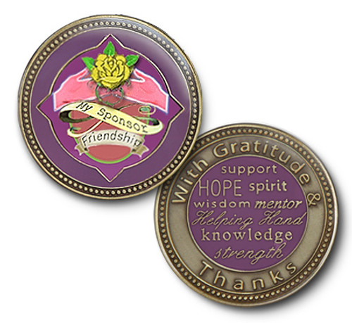 Beautiful enamel coin for your sponsor in AA or NA. Just a beautiful way to thank the person who takes the time to work with you to help you recover from alcohol or drugs. Purple with Yellow friendship rose.