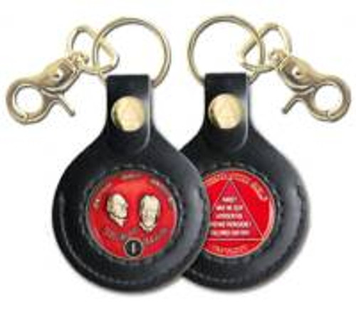 AA Gold Finish Recovery Medallion Leather Key Chain Holder