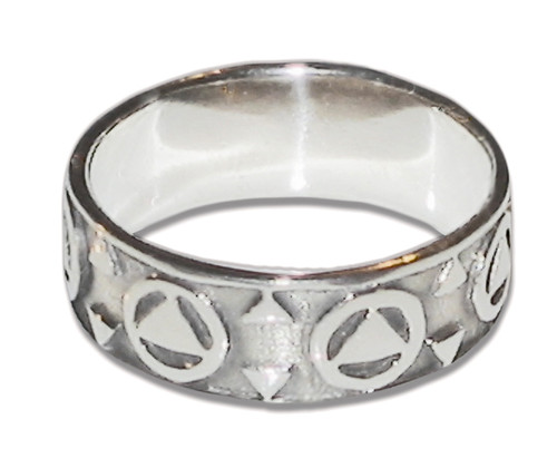 Circle Triangle AA, Alcoholics Anonymous 12 Step Recovery Ring in sterling silver.