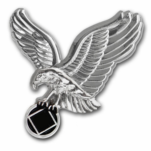 Silver painted na recovery lapel pin in silver finish.