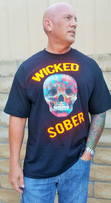 wicked sober recovery tee for a spooky October