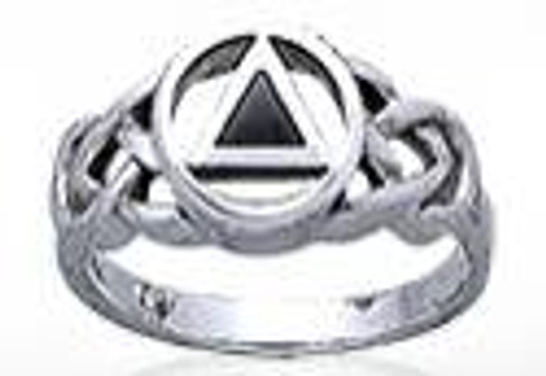 Unique recovery ring gift with aa triangle symbol in sterling silver.
