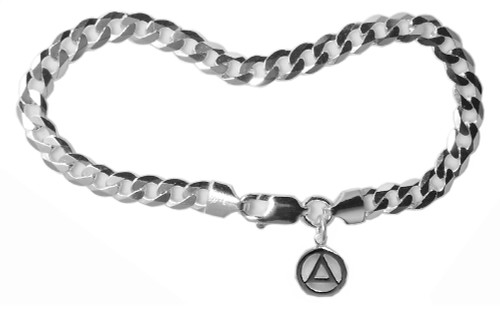 "Style #534.8-14, Curb Link Ster. 8"" Bracelet with Your Choice of 5 Different Small Recovery Charms"