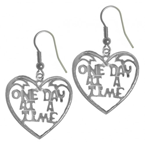 "Style #727-13, Sterling Silver, Sayings Earrings, Heart with ""One Day At A Time"""
