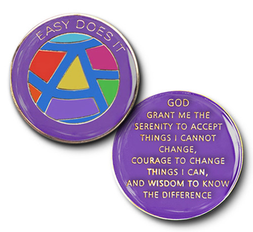 Recovery coin with serenity prayer on back