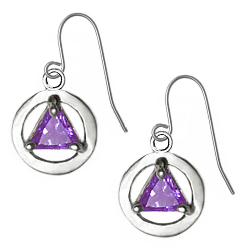 Dainty beautiful recovery AA symbol earrings with birthstone in center.