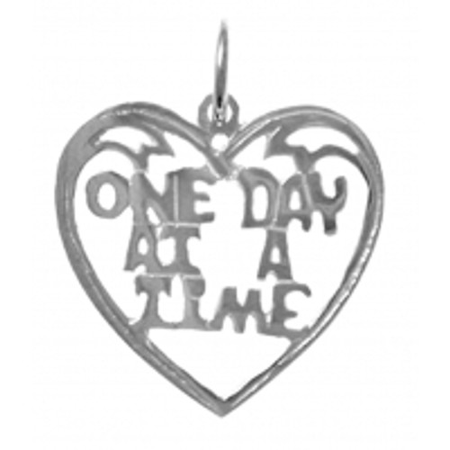 "Style #156-15, Sterling Silver, Sayings Pendant, Heart with ""One Day At A Time"""