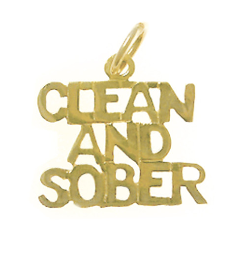 "Style #155-15, 14k Gold, Sayings Pendant, ""Clean And Sober"""