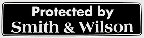 "#ST14, ""Protected by Smith & Wilson"" Bumper Sticker, Available in 3 Colors, Size 11-1/2"" x 3"""