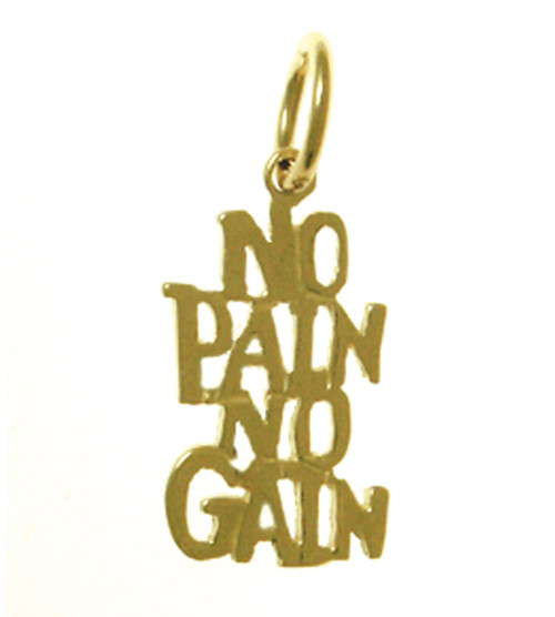 "Style #877-15, 14K Gold, Sayings Pendant, ""NO PAIN, NO GAIN""*"