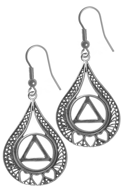 Style #854-6, Sterling Silver Earrings, AA Circle Triangle w/3 Hearts set in a Filigree Style Tear Drop