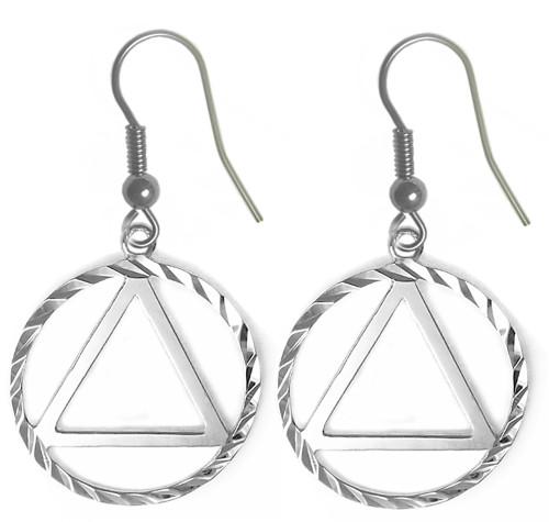Style #704-6, Sterling Silver, AA Symbol Diamond Cut Earrings
