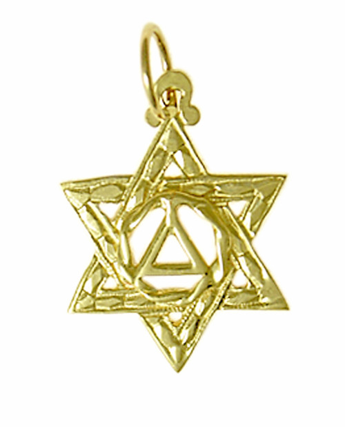 Style #517-4, 14k Gold Pendant, AA Symbol in a Jewish Star of David, Medium Size