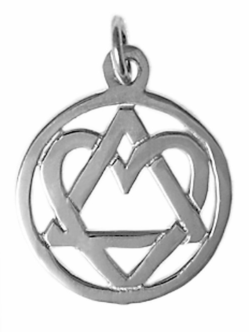 "Style #19-4, Medium Size, Sterling Silver, AA Symbol Pendant with a Open Heart, ""Love & Service"""