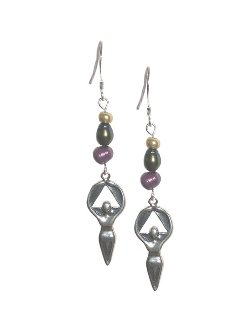 Style #1108 Alcoholics Anonymous Sterling Silver Medium Women in Recovery AA Beaded Earrings