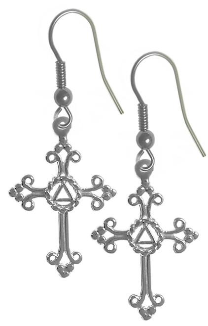 Style #1048, Sterling Silver Earrings, AA Symbol Set in a Open Cross