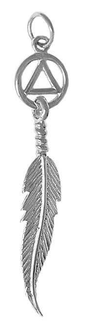 Style #457-3, Sterling Silver Pendant, AA Circle Triangle with a Single Feather