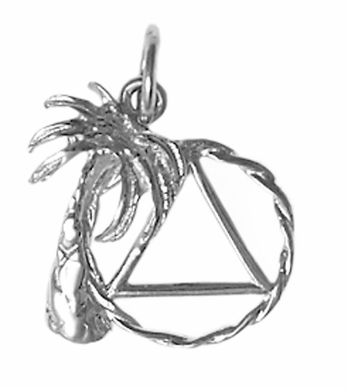 Style #807-3, Medium Size, Sterling Silver Pendant, Palm Tree with AA Symbol in Twist Wire Circle