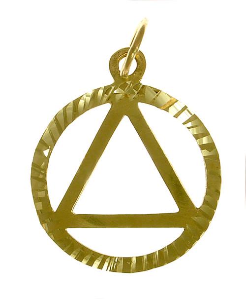 Style #10-1, 14k Gold, Diamond Cut Circle Pendant, Medium Size