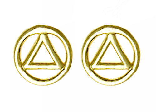 Style #129-6, Small 14k Gold AA Symbol Stud Earrings