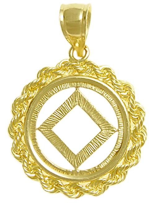Style #482-9, 14k Gold, NA Symbol Pendant, Rope Style Circle, Medium Size