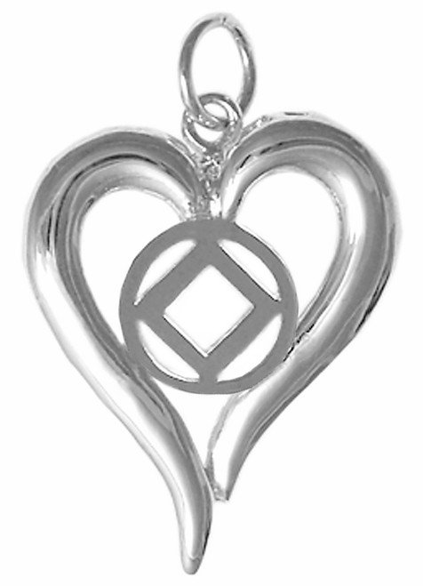 Style #397-9, Sterling Silver, Heart Pendant with NA Symbol, Medium Size