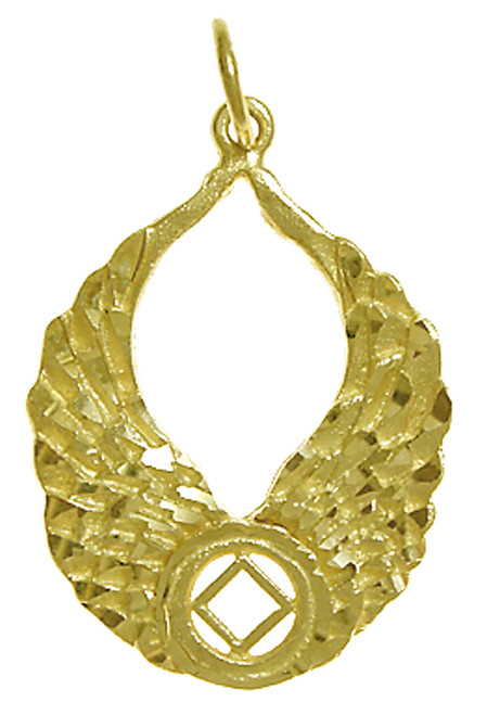 Style #825-10, 14k Gold Pendant, NA Recovery Symbol with Angel Wings