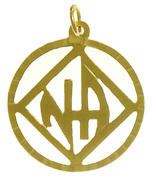 "Style #558-11, 14k Gold Pendant, NA Symbol with ""NA"" Initials inside square, Diamond Cut Accents"