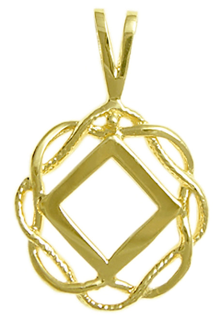Style #546-9, 14k Gold, NA Symbol in a Basket Weave Circle, Medium Size
