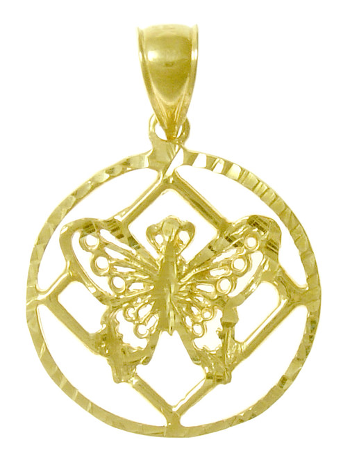 Style #990,14k Gold Pendant, NA Symbol with a Small Butterfly on the inside of the Symbol