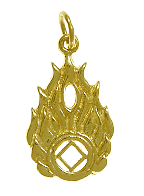 Style #824-10, 14k Gold Pendant, NA Symbol in Flames