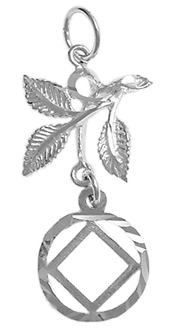 Style #830-9, Sterling Silver Pendant, NA Symbol in a Circle with 3 Leaves