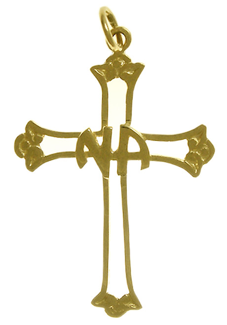 Style #552-11, 14k Gold, Cross Pendant with NA Initials in the Center