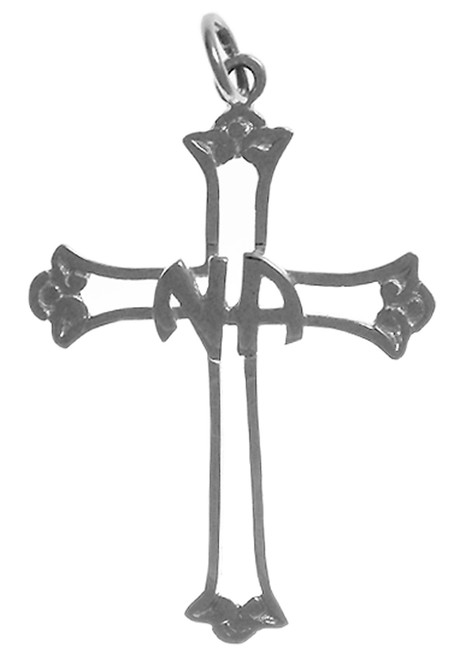 Style #552-11, Sterling Silver, Cross Pendant with NA Initials in the Center