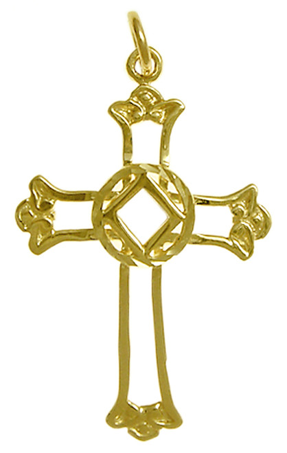 Style #551-10, 14k Gold, Cross Pendant with NA Symbol, Medium Size