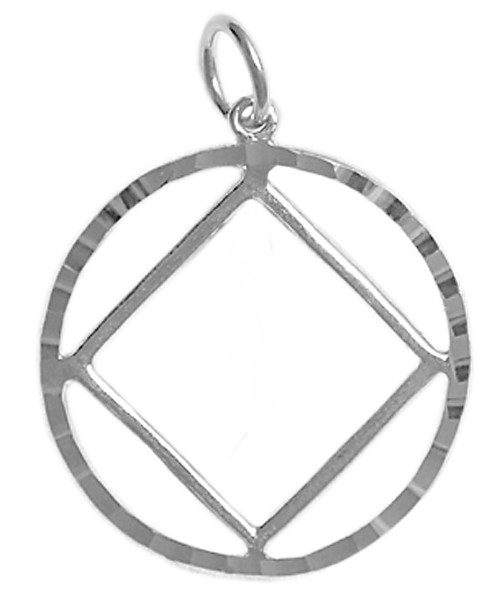 Style #361-9, Sterling Silver Pendant, NA Symbol in a Diamond Cut Circle, Large Size